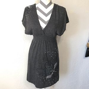 FLYING TOMATO - Sweater Dress Pearl Embellishment